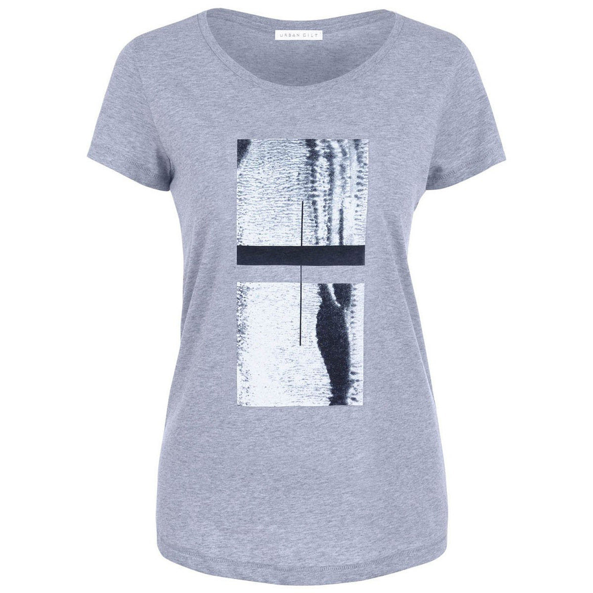 Draycott Grey Abstract Squares Print T-shirt Front View