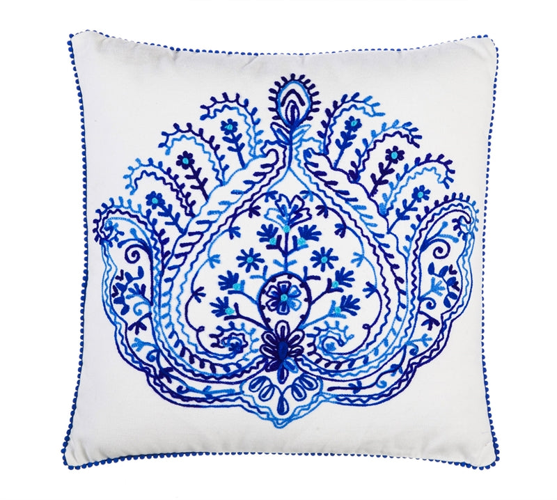 WHITE & BLUE FLOURISH Embroidered Pillow