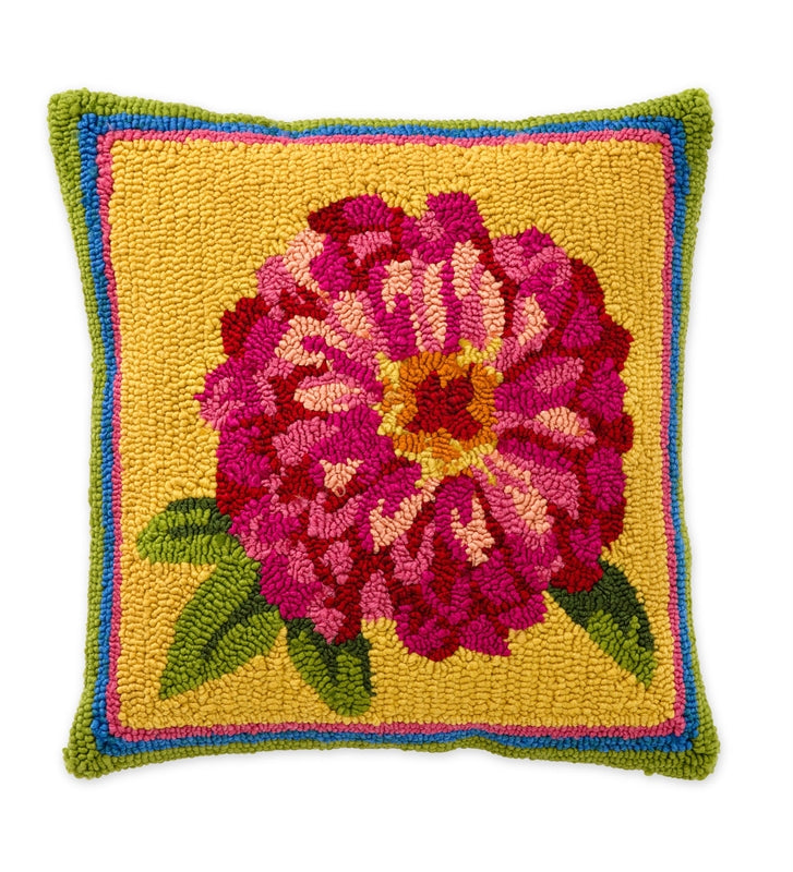 PINK ZINNIA Hand Hooked Indoor/Outdoor Pillow