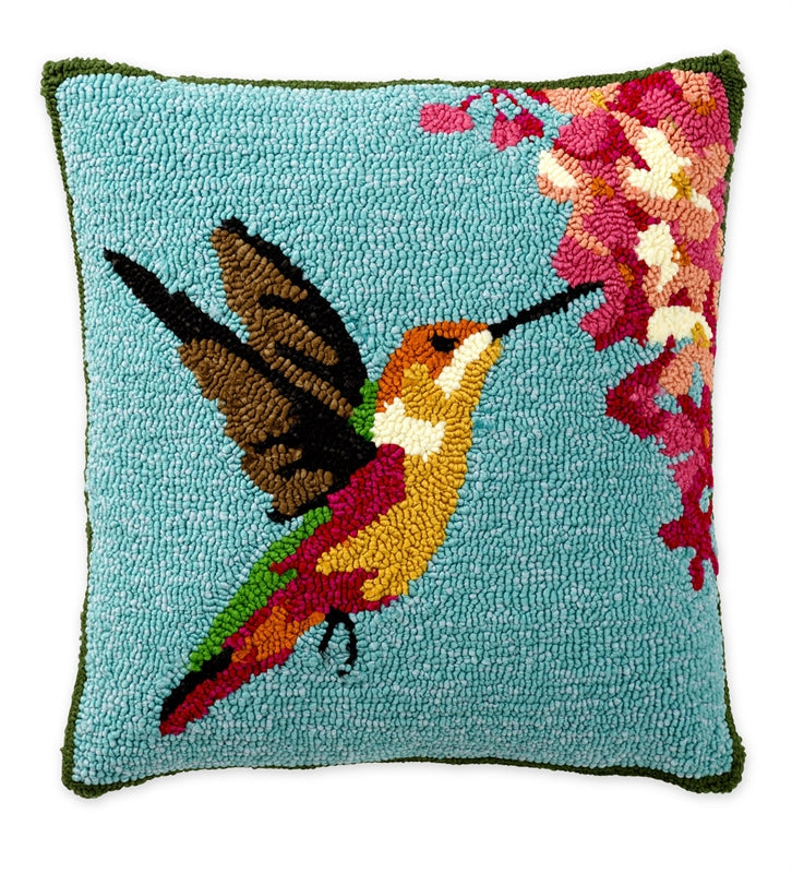 HUMMINGBIRD Hand Hooked Indoor/Outdoor Pillow
