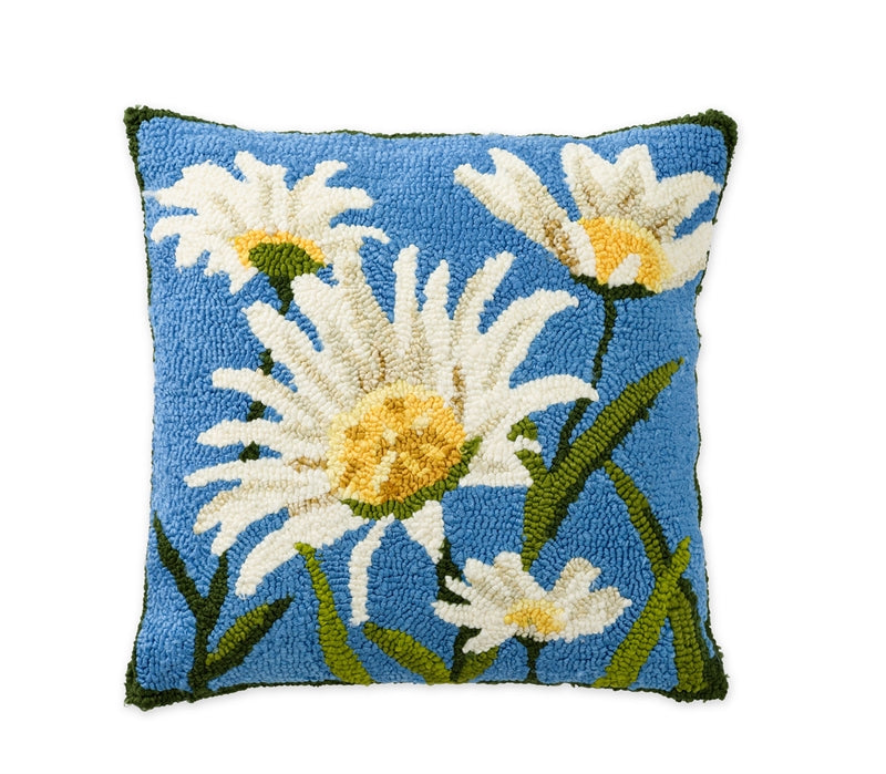 SHASTA DAISY Hand Hooked Indoor/Outdoor Pillow