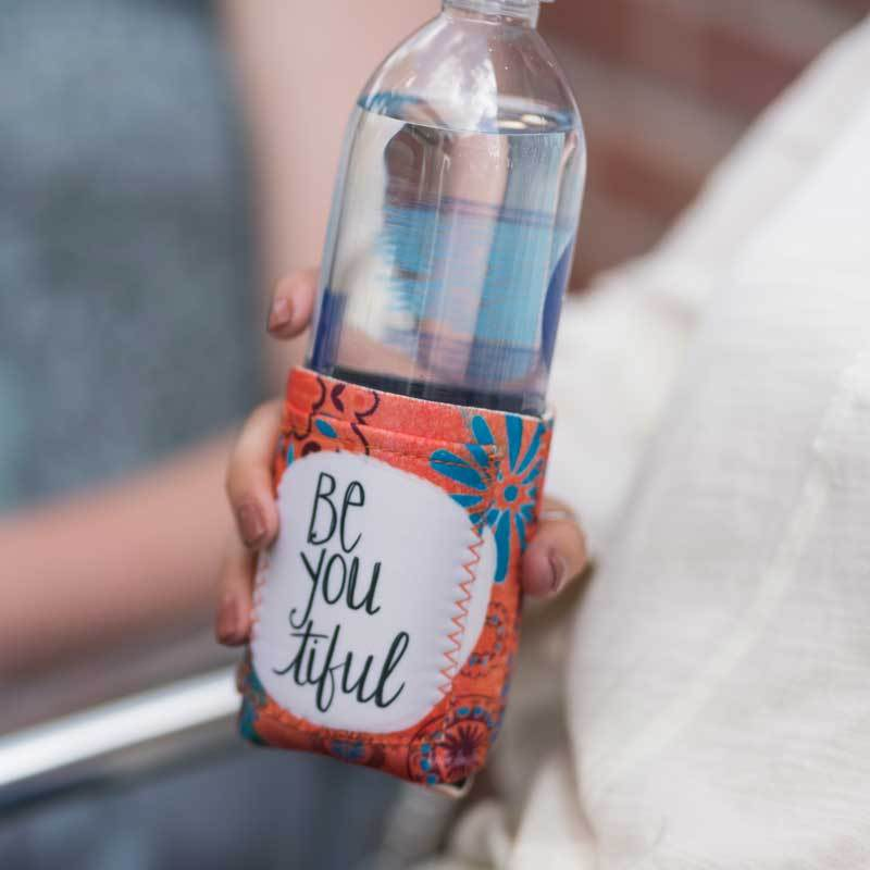 "Inspirational sentiment, ""Be You tiful"" and fun artwork makes this pocketed drink sleeve, from the Simple Inspirations Collection, a practical, inspirational & fun treat for yourself or a friend."