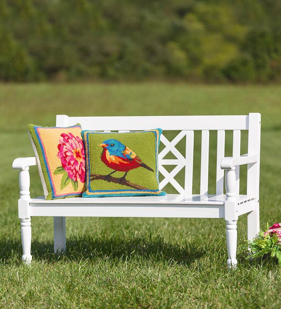 PAINTED BUNTING ON BRANCH Hand Hooked Indoor/Outdoor Pillow