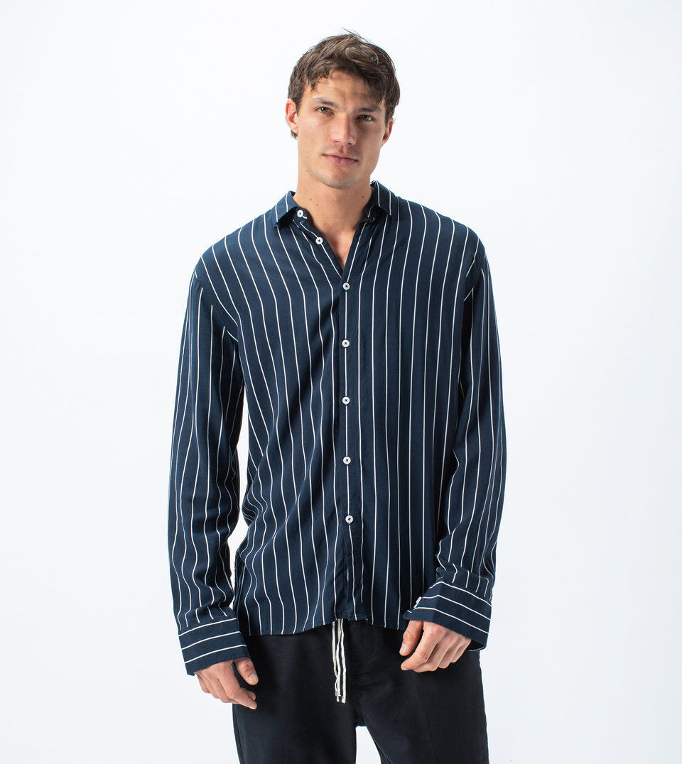 Pinstripe LS Shirt Ink/Milk - Sale