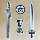 Transparent Vinyl Sticker Set of the Four Tarot Suits - Black lines