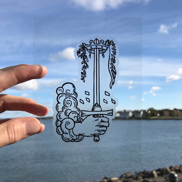 Transparent Vinyl Sticker of the Ace of Swords - Black lines