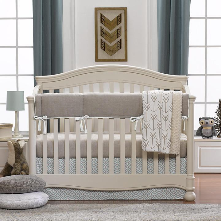 Liz & Roo Archery (Taupe/Aqua) Bumperless Crib Bedding 4-pc. Set