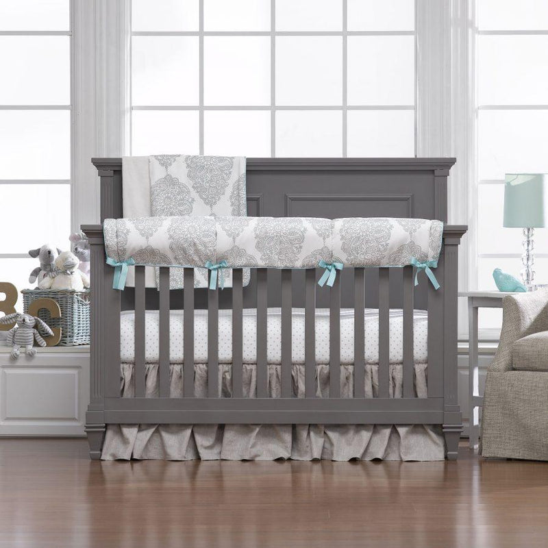 Liz & Roo Harper (Taupe/Aqua) Bumperless Crib Bedding 4-pc. Set