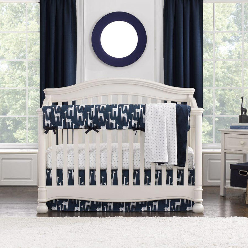 Liz & Roo Navy Giraffe Bumperless Crib Bedding 4-pc. Set