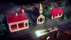 "Plasticville Fire Station House Miniature from ""She Kills"""