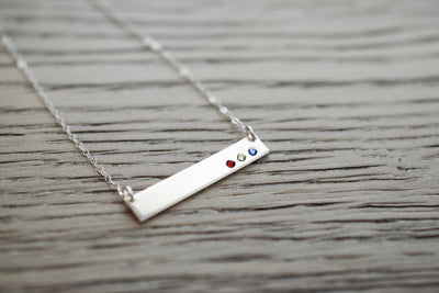 Birthstone Bar Necklace, left view