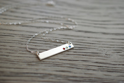 Birthstone Bar Necklace, gray background