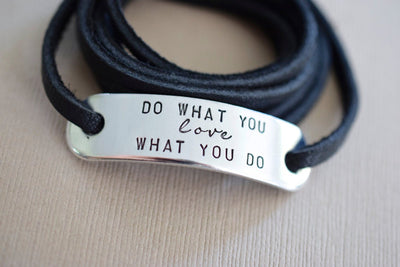 Do What You Love Wrap Bracelet | Stamped Bracelet, Front View