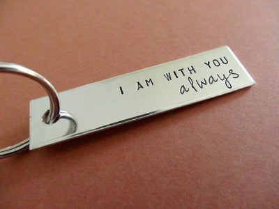 I am with you Always Keychain, close up