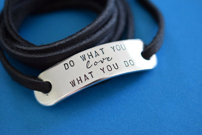 Do What You Love Wrap Bracelet | Stamped Bracelet, Detail View