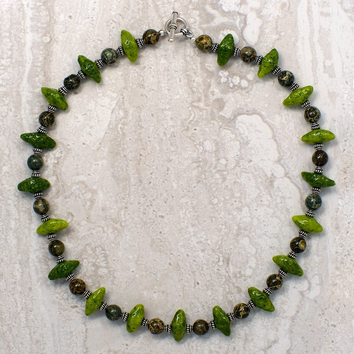 Men's Necklace in Green Faience with Green Brecciated Jasper - Em Hotep Collection