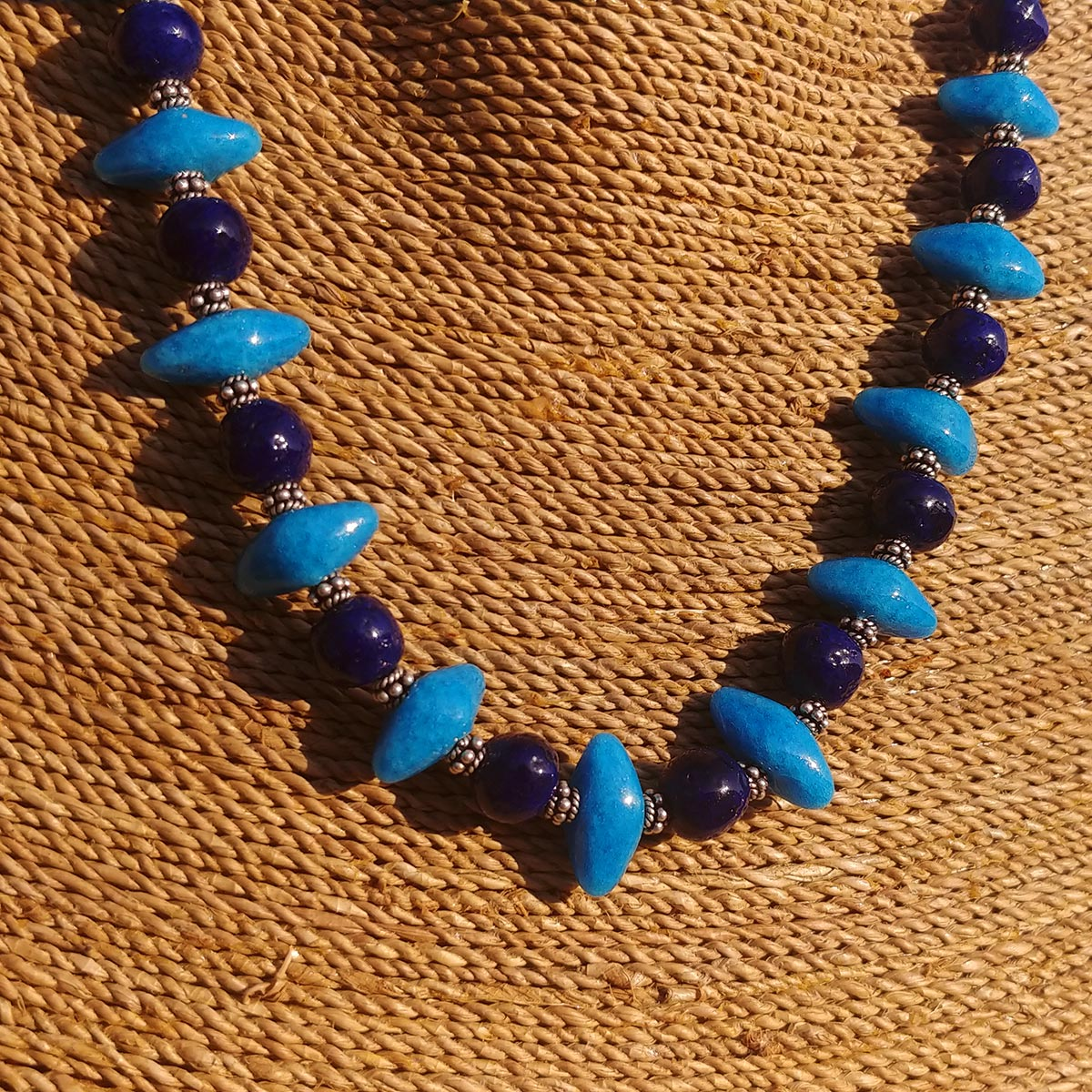 "Women's Necklace in Blue Faience ""Croc Teeth"" and Indigo Faience - Em Hotep Collection"