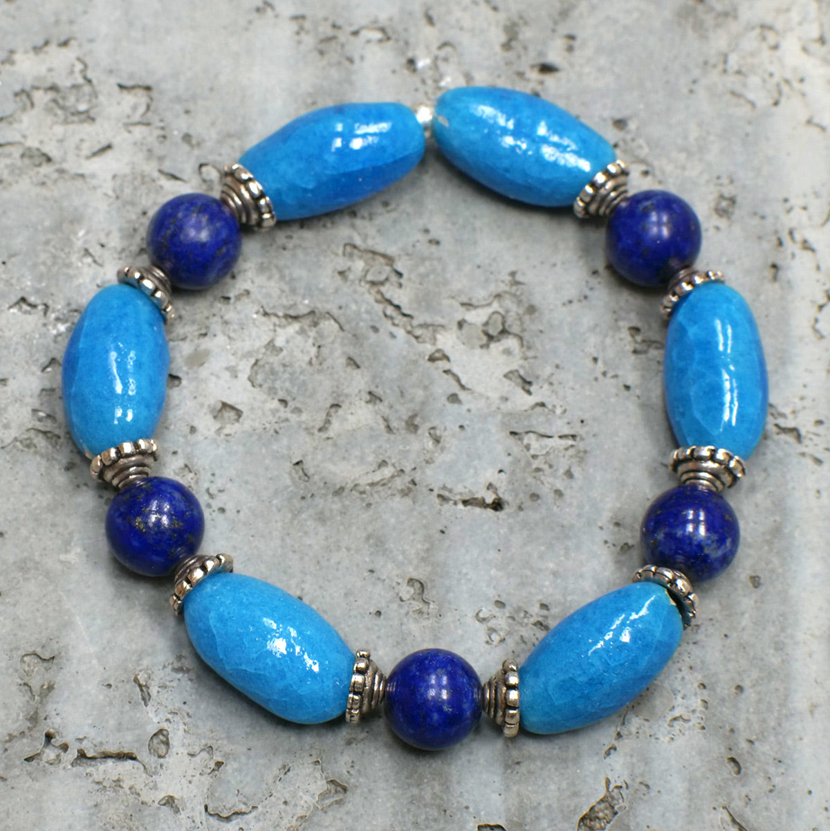Men's Bracelet in Lapis and Blue Faience - Em Hotep Collection