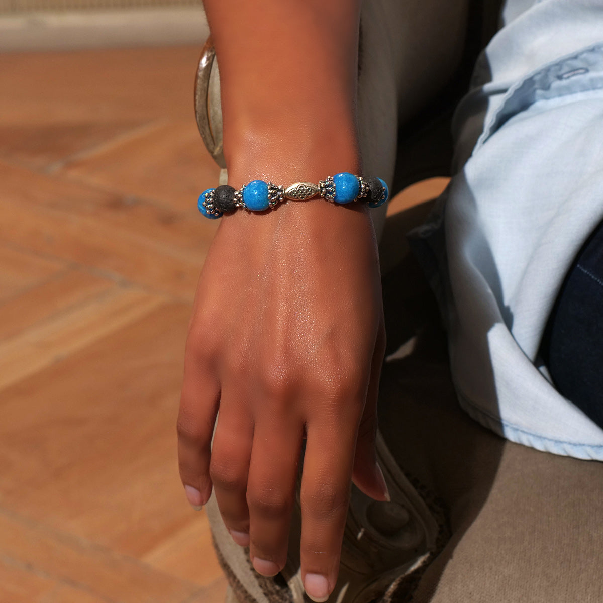Women's Bracelet in Sky Blue Faience and Black Lava - Em Hotep Collection