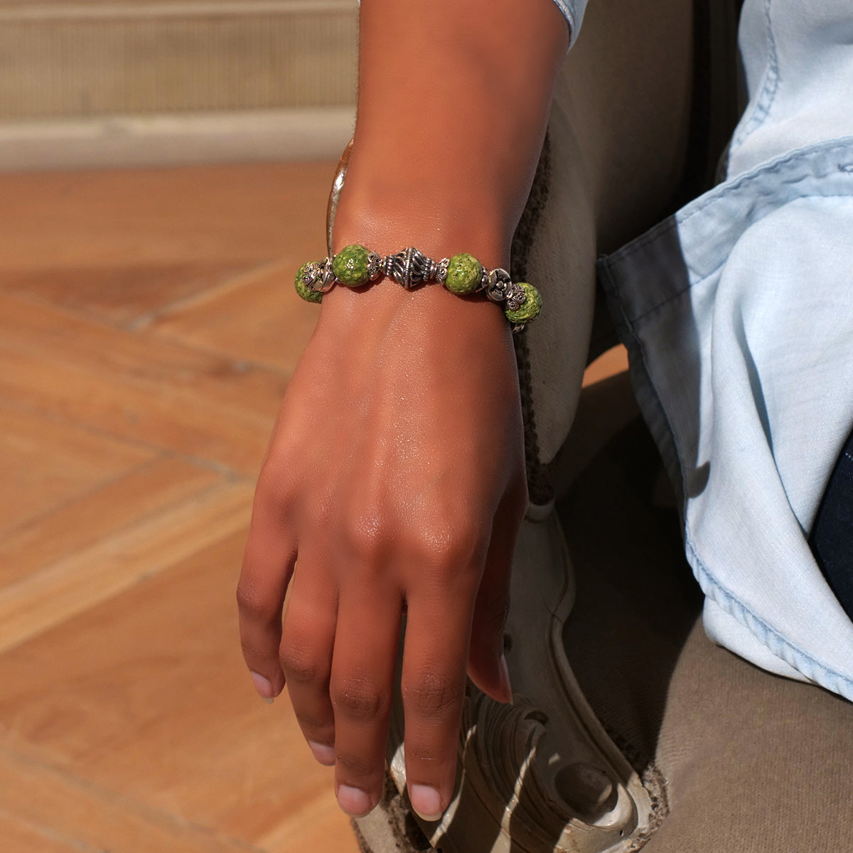 Women's Bracelet in Nile Green Faience - Em Hotep Collection