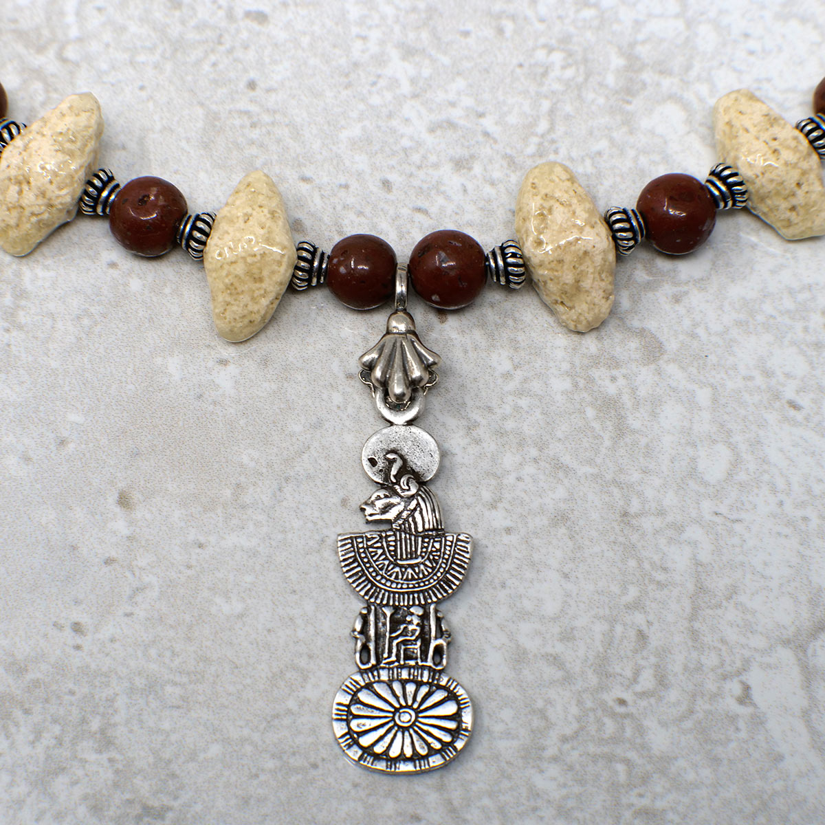 "Women's Necklace in Sand Tone Faience ""Croc Teeth"" and Matte Red Jasper - Em Hotep Collection"