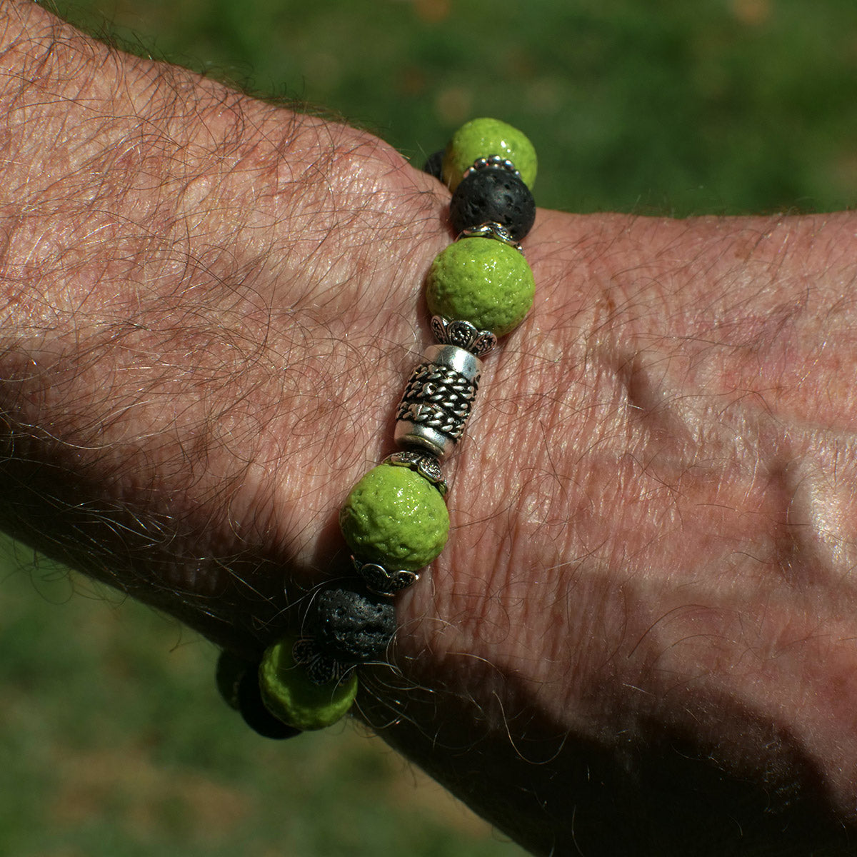 Men's Bracelet in Pale Green Faience and Black Lava - Em Hotep Collection