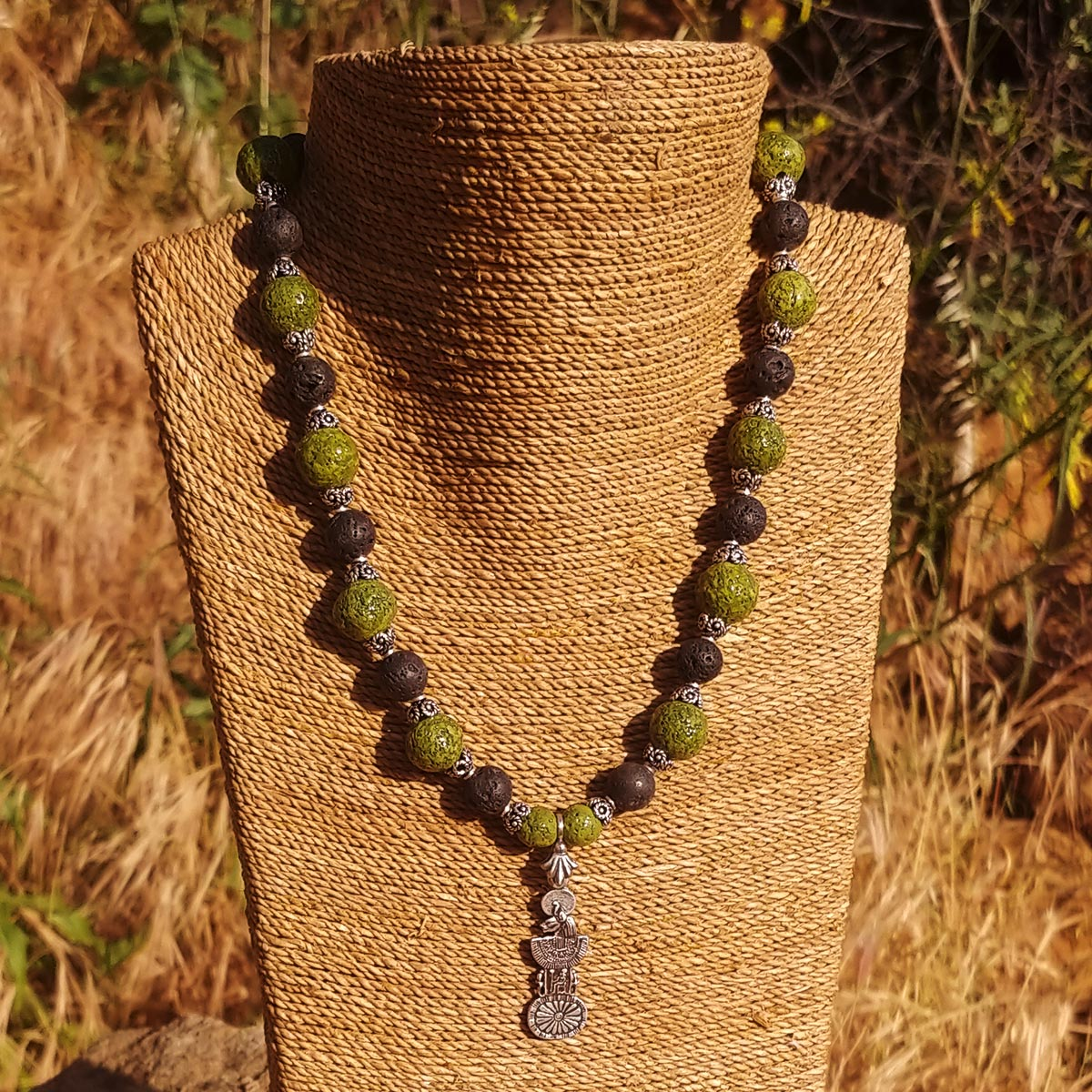 Men's Necklace in Nile Green Faience and Matte Black Lava - Em Hotep Collection