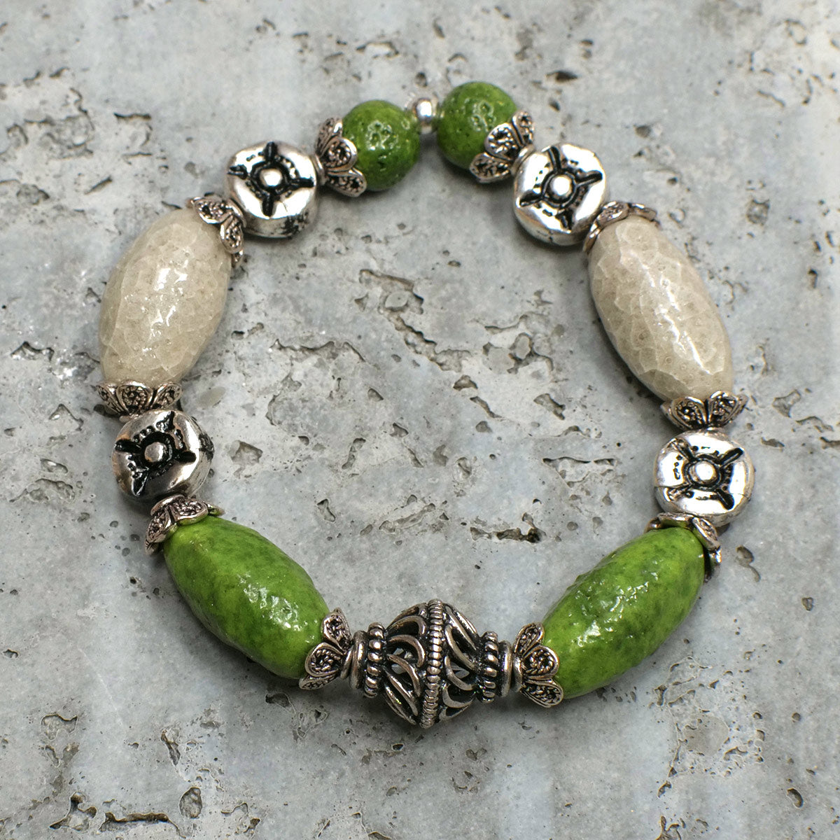 Women's Bracelet in Green and Grey Pearl Faience - Em Hotep Collection