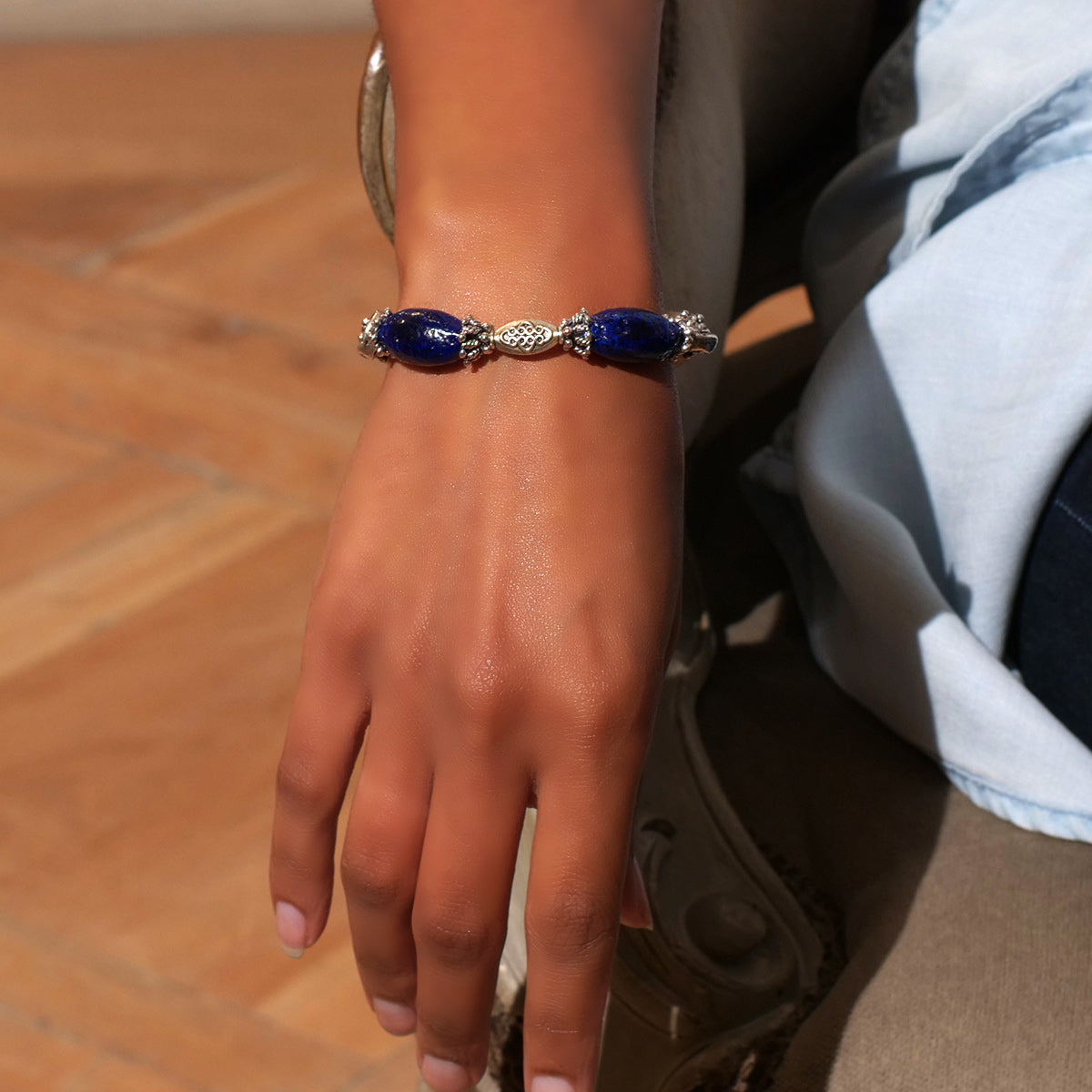 Women's Bracelet in Indigo Blue and Sand Tone Faience - Em Hotep Collection