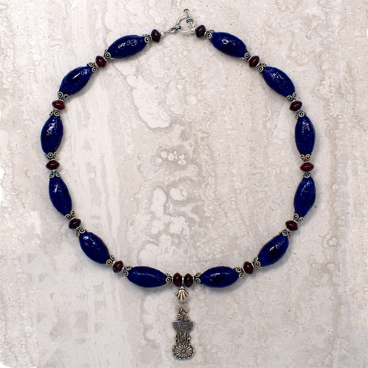 Men's Necklace in Indigo Blue Faience and Red Jasper Roundels - Em Hotep Collection