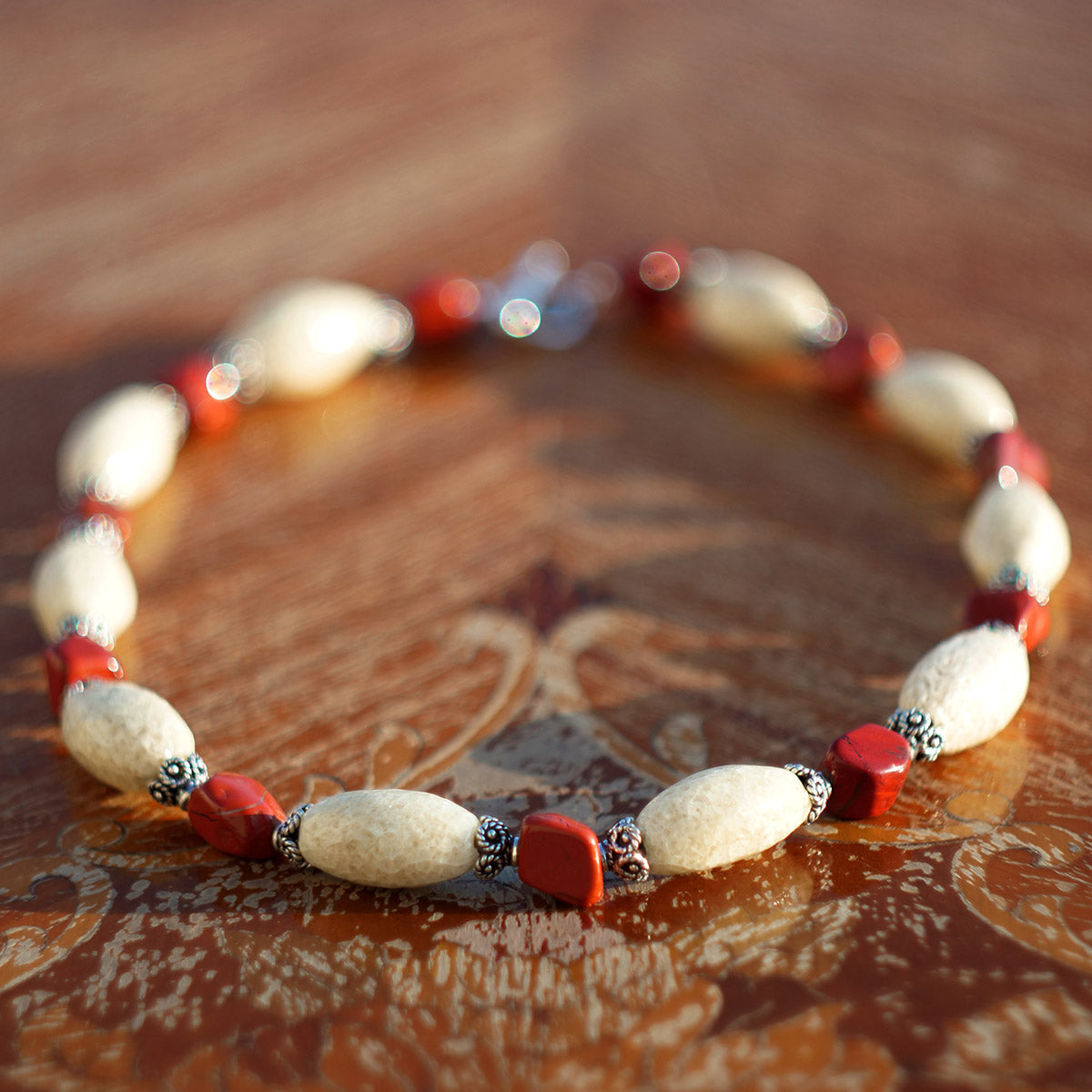 Women's Necklace in Sand Tone Faience with Red Jasper Hand-Hewn Nuggets - Em Hotep Collection