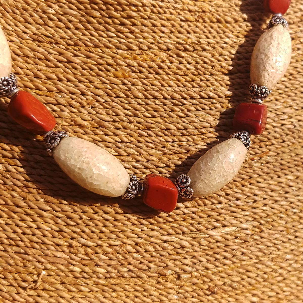 Men's Necklace in Sand Tone Faience with Red Jasper Hand-Hewn Nuggets - Em Hotep Collection