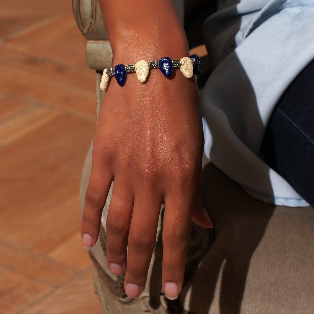 Women's Bracelet in Blue Indigo and Sand Tone Faience Ished Leaves - Em Hotep Collection