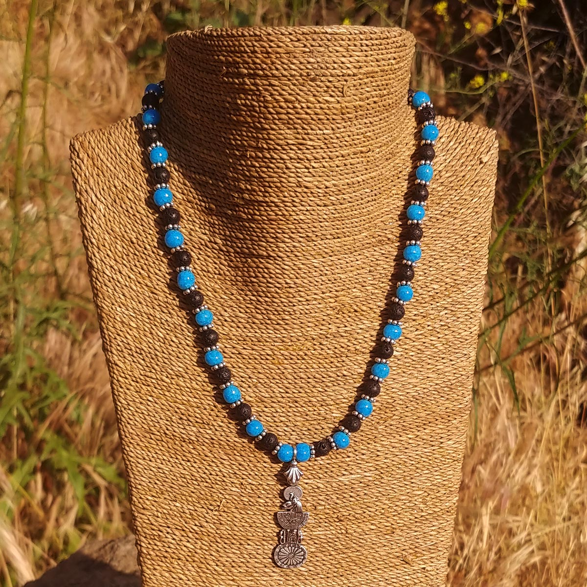 Men's Necklace in Blue Faience with Matte Black Lava - Em Hotep Collection