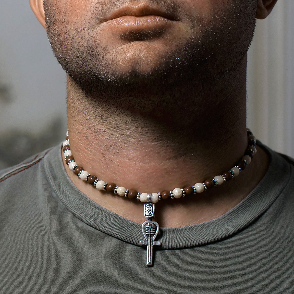 Men's Necklace in Sand Tone Faience with Hand-Hewn Matte Red Jasper - Em Hotep Collection