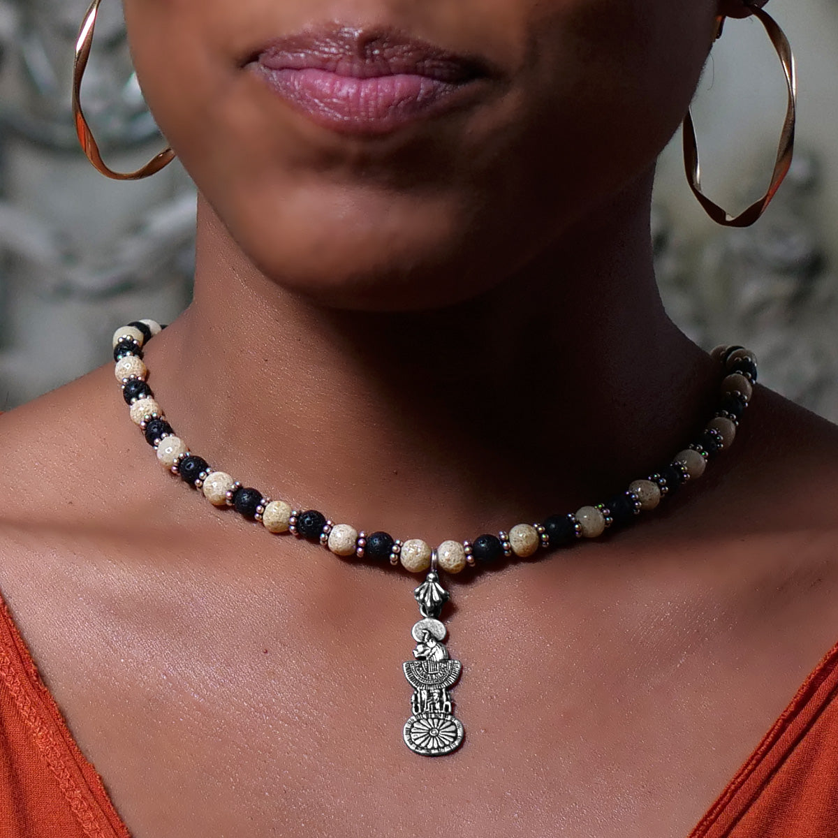 Women's Necklace in Sand Tone Faience with Matte Black Lava - Em Hotep Collection