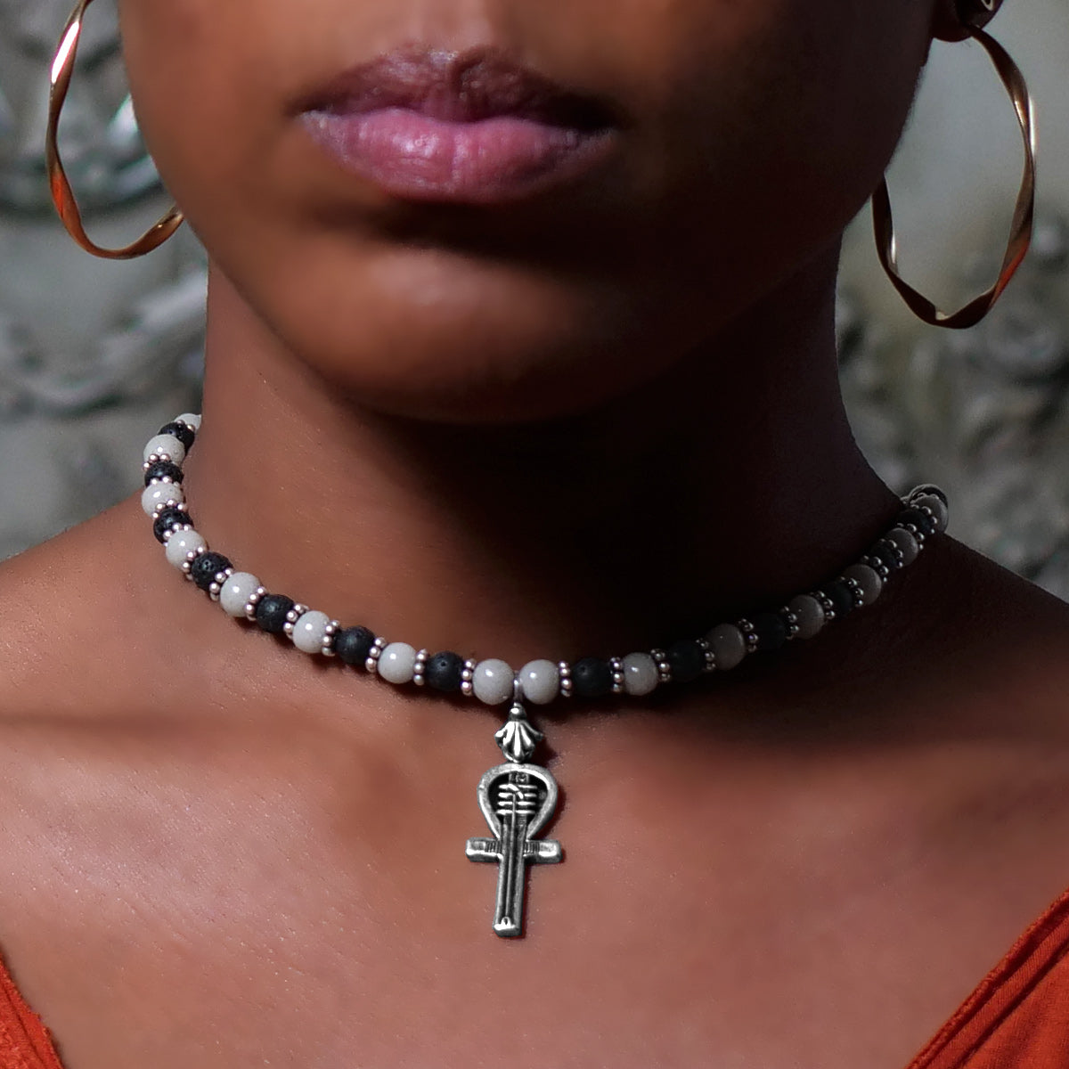 Women's Necklace in Ivory Tone Faience with Matte Black Lava - Em Hotep Collection