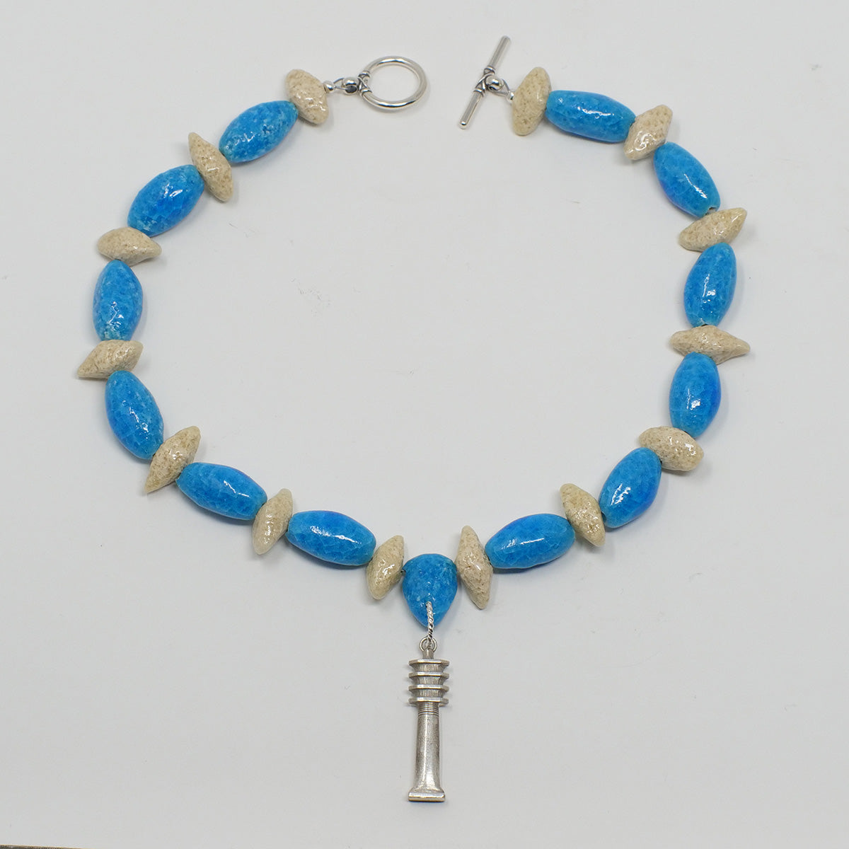 "Djed Pillar Necklace in Silver with ""Egyptian Sky"" & ""Wadi Sand"" Faience Beads"
