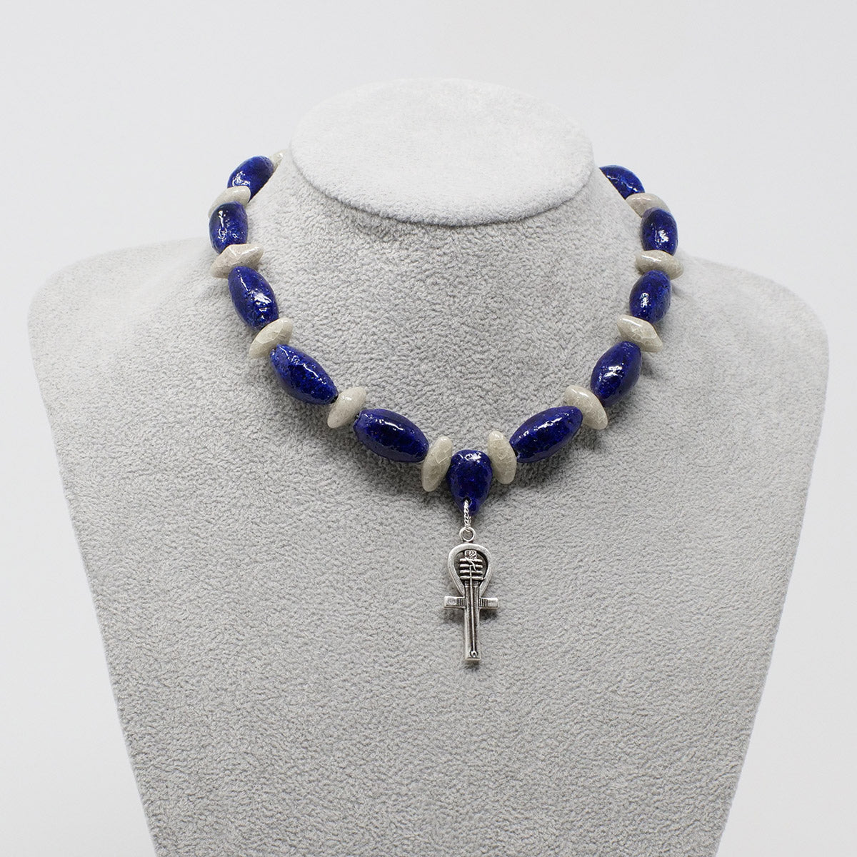 "Ankh Pendant necklace in Silver with ""Blue Lotus"" & ""Luxor Pearl"" Faience Beads - ""Ka Collection"""