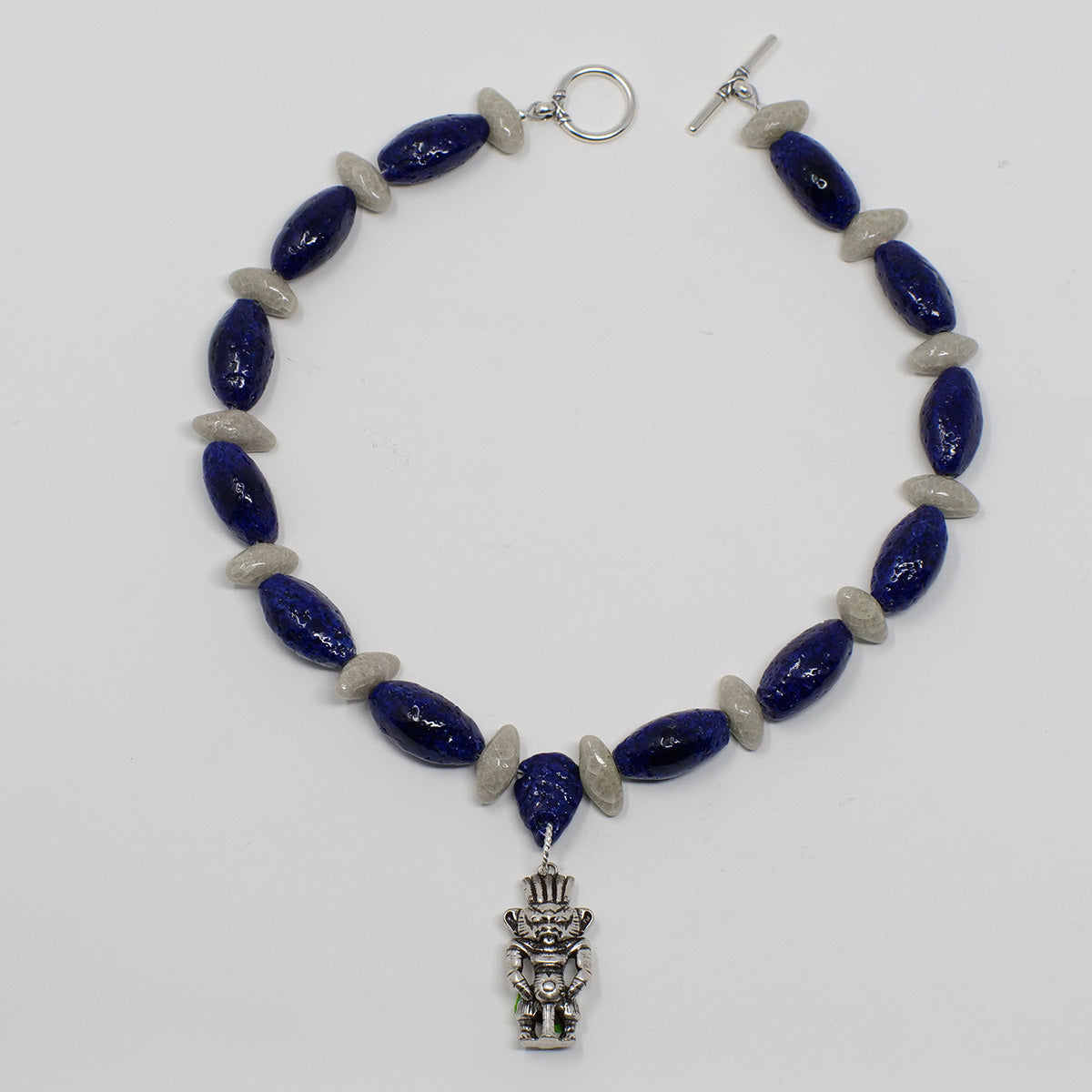 "Boho Choker necklace in Silver with ""Blue Lotus"" & ""Luxor Pearl"" Faience Beads - ""Ka Collection"""