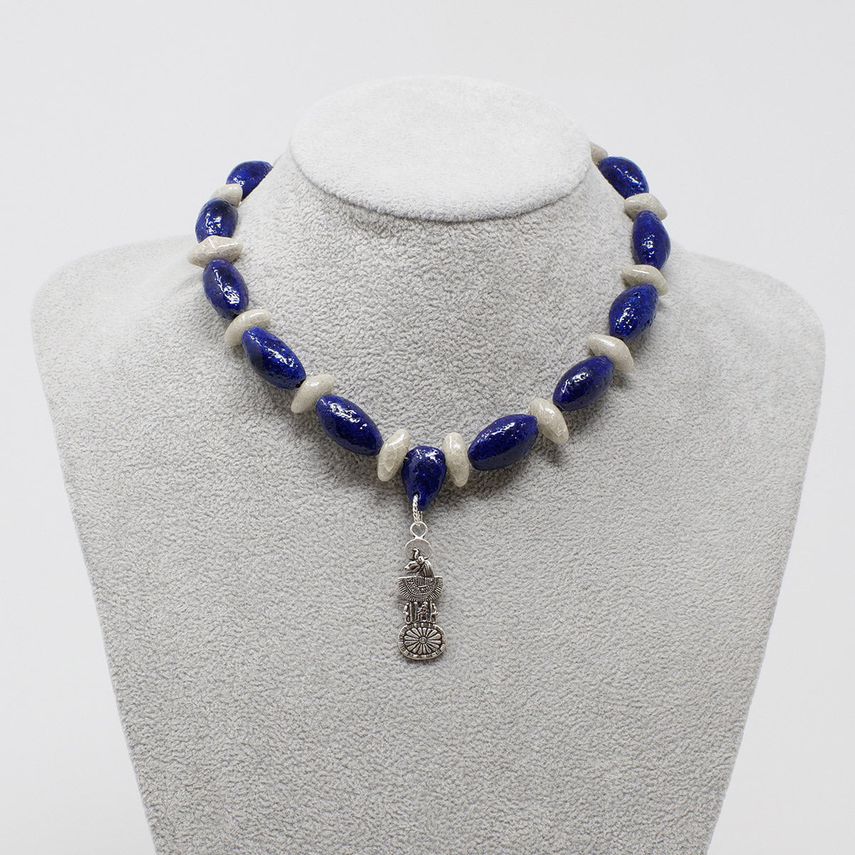 "Bastet Goddess necklace in Silver with ""Blue Lotus"" & ""Luxor Pearl"" Faience Beads - ""Ka Collection"""