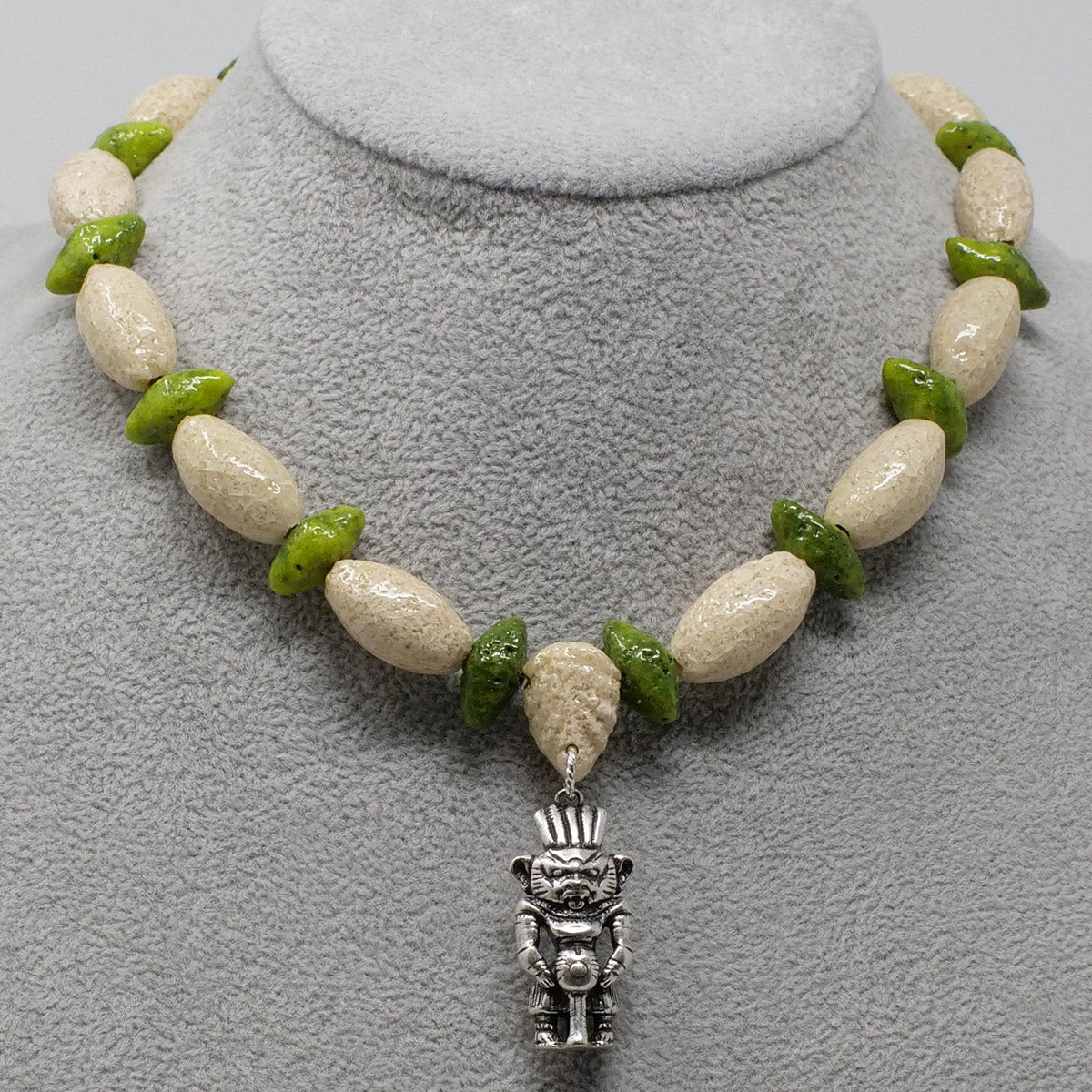 "Bes Necklace in Silver with ""Wadi Sand"" & ""Wadj Green"" Faience Beads - ""Ka Collection"""