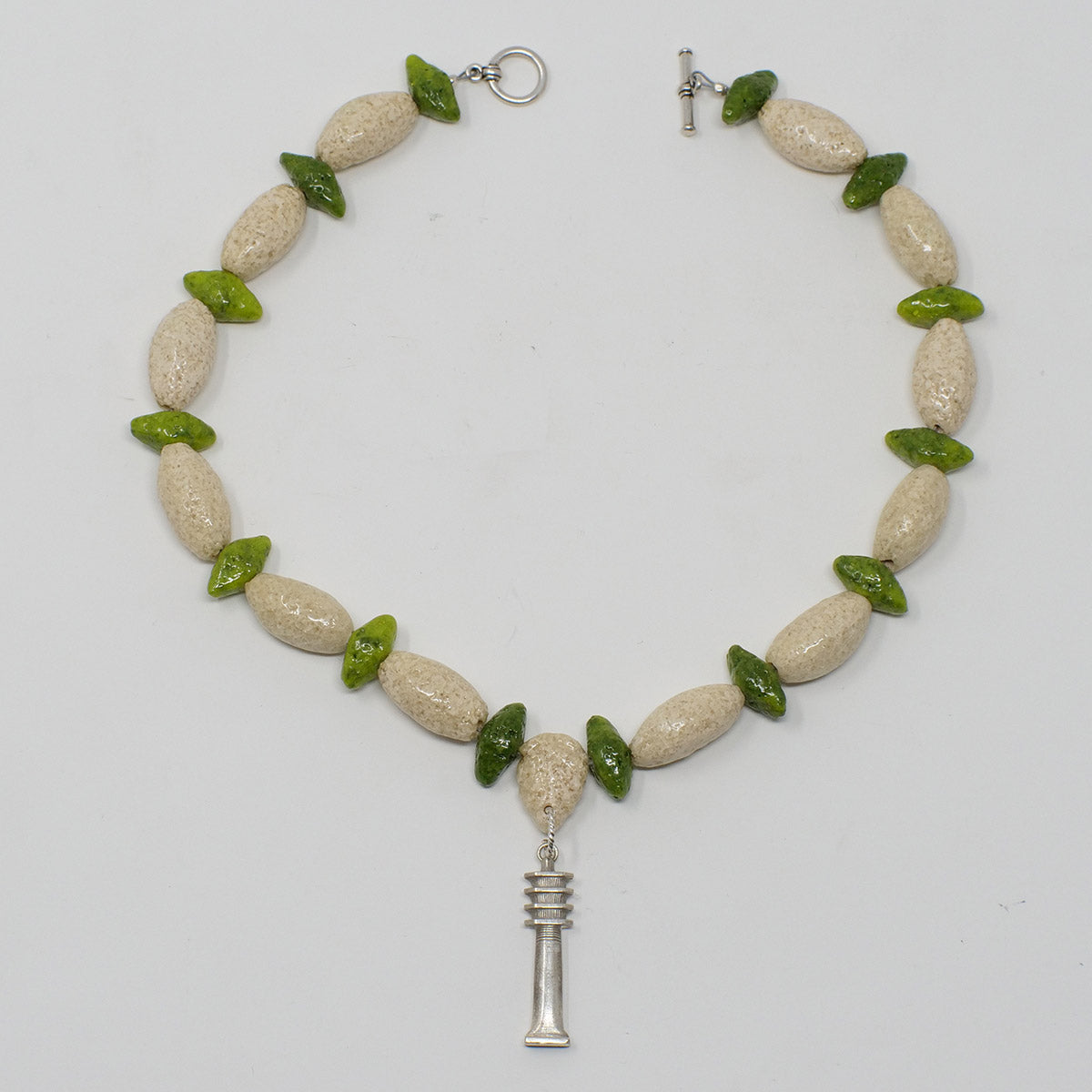 "Boho Beaded necklace with ""Wadi Sand"" & ""Wadj Green"" Faience Beads"