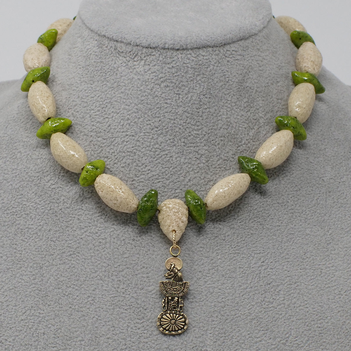 "Bohemian Choker necklace in Gold with ""Wadi Sand"" & ""Wadj Green"" Faience Beads"