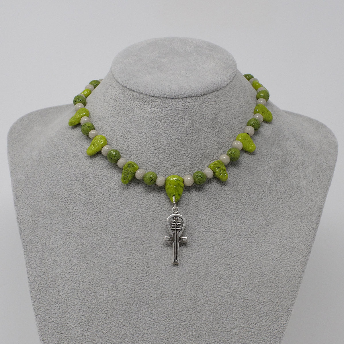 "Ankh Necklace in Silver with ""Wadj Green"" & ""Luxor Pearl"" Faience Beads - ""Ba Collection"""