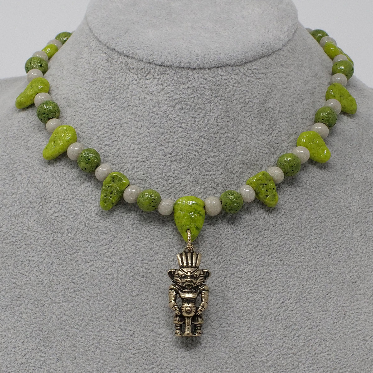 "Bes Necklace in Gold with ""Wadj Green"" & ""Luxor Pearl"" Faience Beads - ""Ba Collection"""