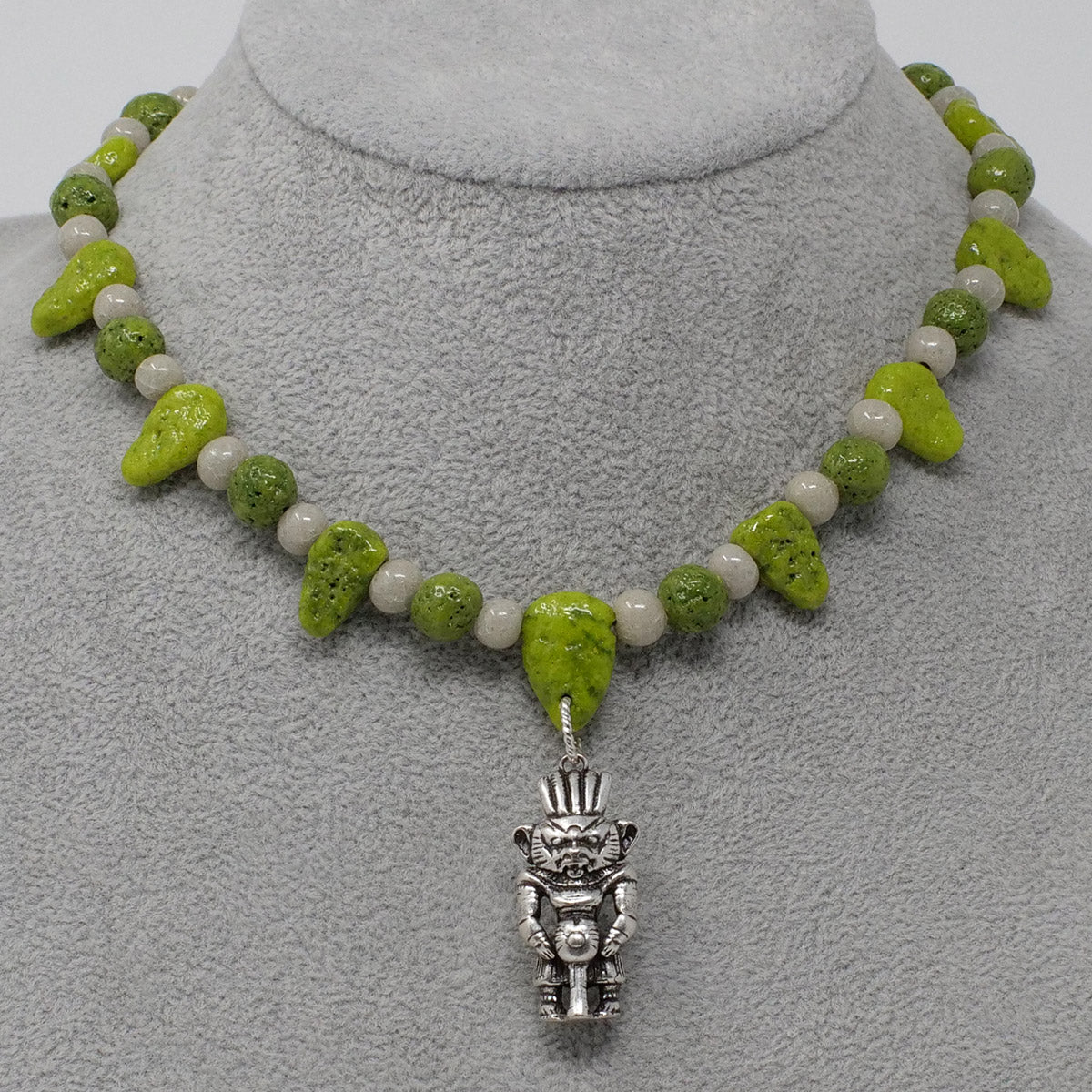 "Boho Statement necklace in Silver with ""Wadj Green"" & ""Luxor Pearl"" Faience Beads"