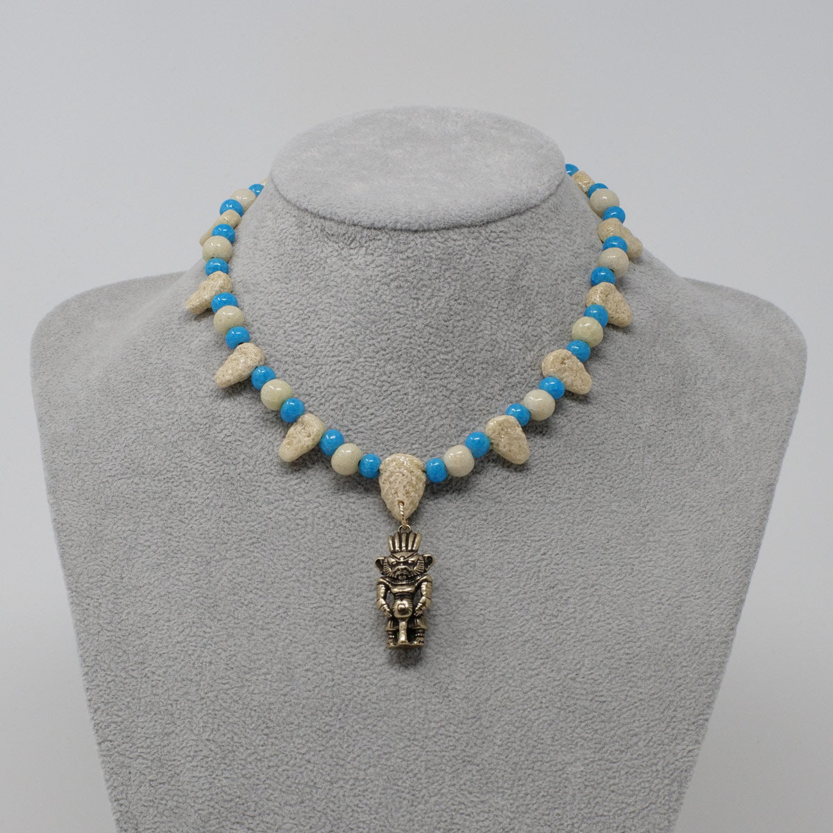 "Bes Necklace in Gold with ""Wadi Sand"" & ""Egyptian Sky"" Faience Beads - ""Ba Collection"""