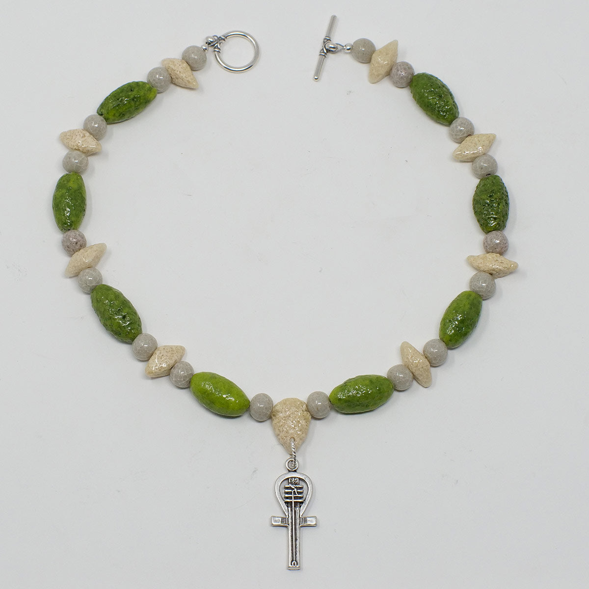 "Ankh Necklace in Silver with ""Wadj Green"", ""Luxor Pearl"" & ""Wadi Sand"" Faience Beads - ""Shenu Collection"""