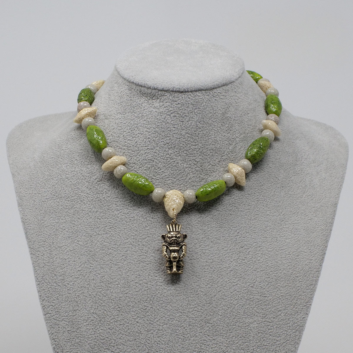 "Bes Necklace in Gold with ""Wadj Green"", ""Luxor Pearl"" & ""Wadi Sand"" Faience Beads - ""Shenu Collection"""